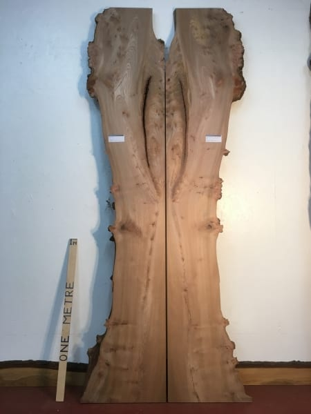 BURRY ELM 1475A-6/7 Bookmatched set Waney Natural Live Edge Slabs Planed Hardwood Kiln Dried Seasoned Boards 4.5cm thick Tabletops River Tables Headboards