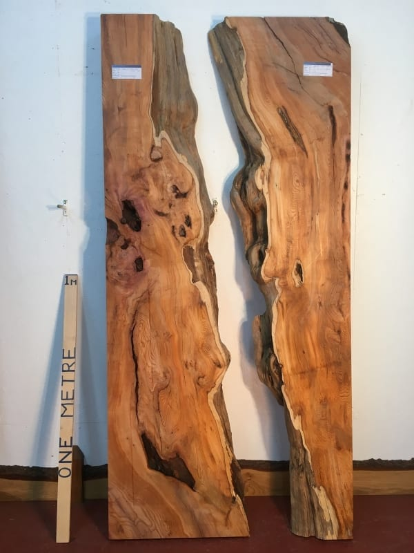 YEW REVERSE BOOKMATCHED RIVER SET 0934B-1/2 Single Waney Natural Live Edge Planed Hardwood Kiln Dried Seasoned Board thickness 11.5cm Wildwood River Tables