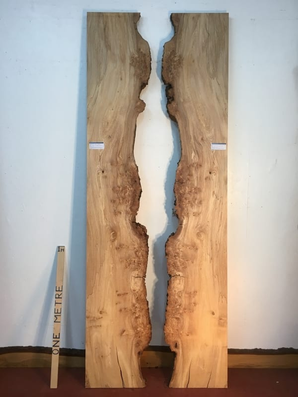 BURRY SPALTED ELM REVERSE BOOKMATCHED SET 1466-5/6 Single Waney Live Edge Slab Planed Hardwood Kiln Dried Seasoned Board 4cm Thick River Tables