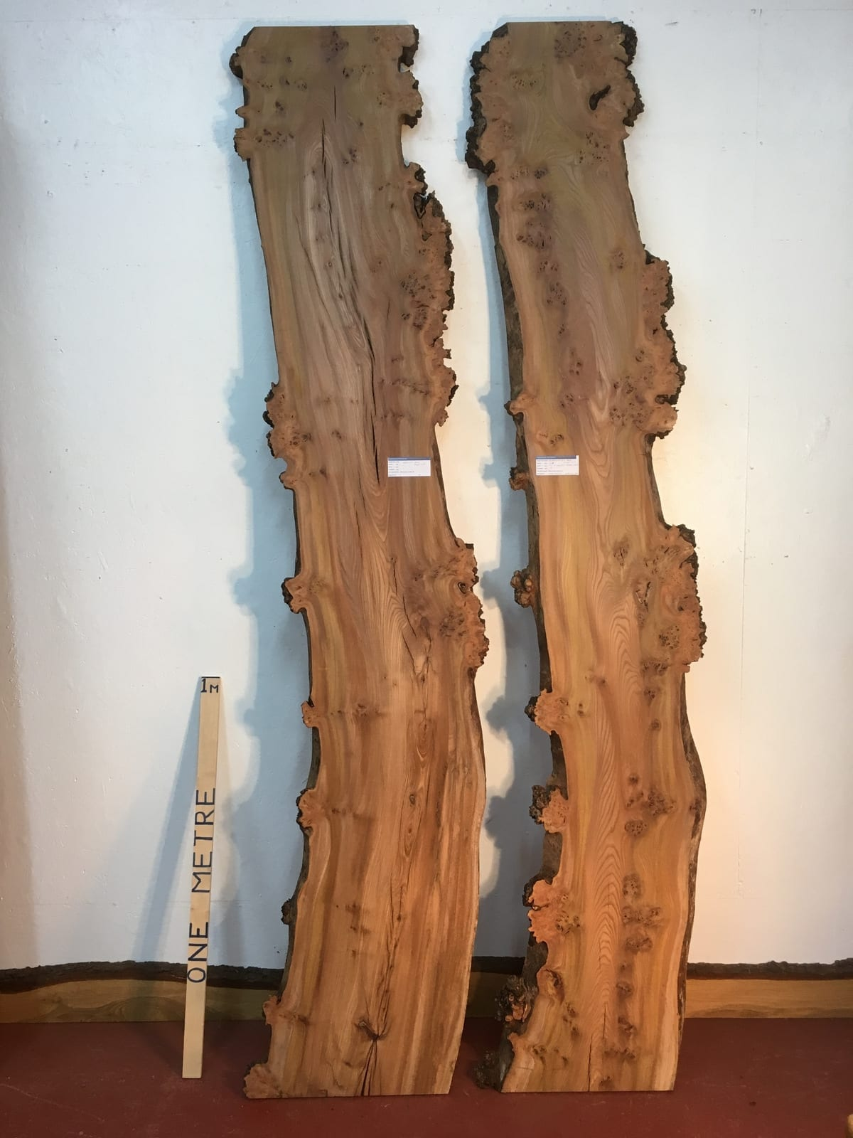 BURRY ELM 1536P-2/3 Paired Set Natural Waney Live Edge Slabs Planed Kiln Dried Seasoned Hardwood Board Thickness 4cm Wildwood River Tables