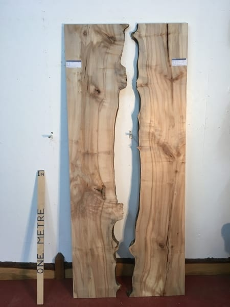 MAPLE REVERSE BOOKMATCHED RIVER SET Natural Waney Live Edge Board 1568-9/10